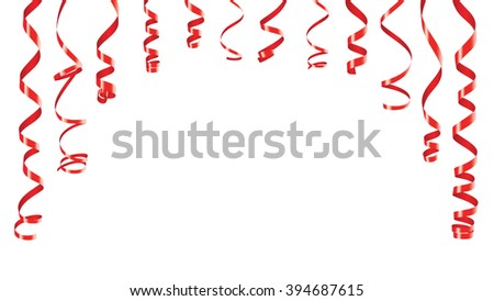 Party decorations red streamers or curling party ribbons in the form of an arch banner. Isolated on white  - stock photo