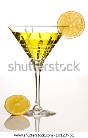Party drink decorated with a slice of lemon - stock photo