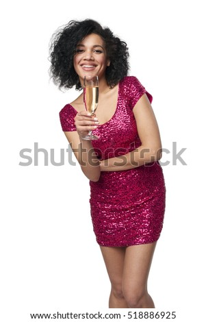 Party, drinks, holidays and celebration concept. Happy playful laughing mixed race woman in sequined dress with glass of champagne