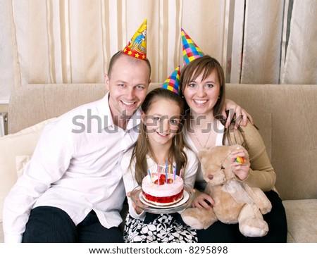 Party - family celebrate birthday - stock photo