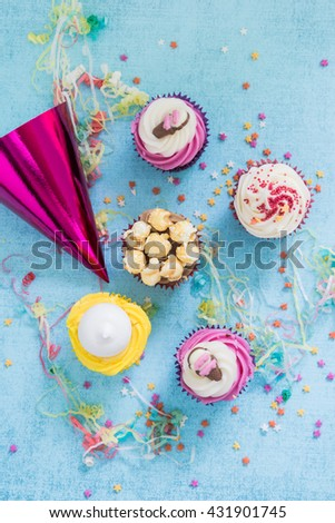 party food concept, overhead view