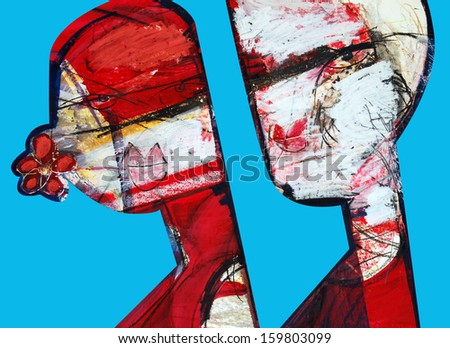 Party girl, drawing abstract - stock photo