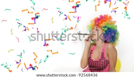 party girl over white - stock photo