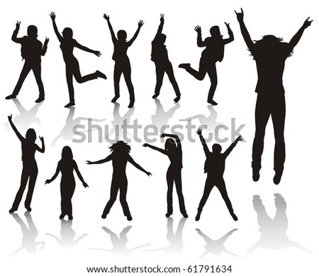 Party girls.Girls jumping. - stock photo