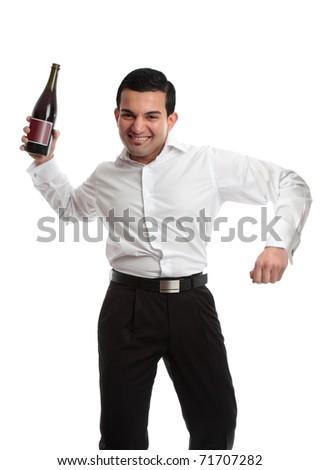 Party goer holding wine celebrating - stock photo