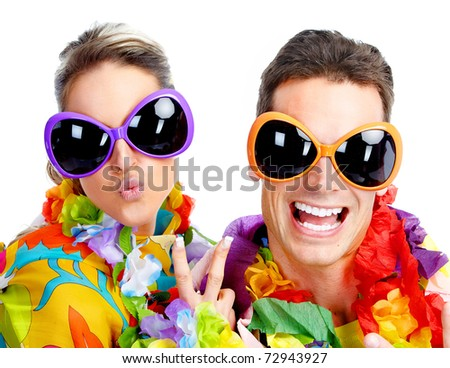 Party. Happy smiling people. Over white background