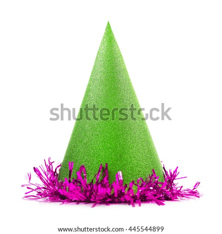 Party hat cone on a white background - stock photo