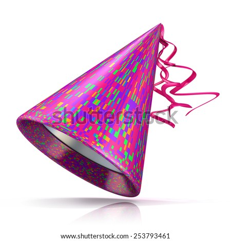 Party hat. 3D illustration of purple hat with colorful rectangular pattern. - stock photo
