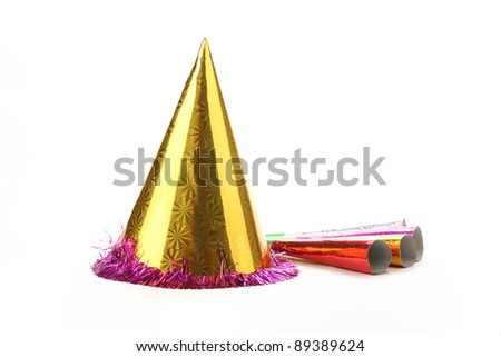 Party hat isolated on white. - stock photo