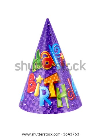 Party hat that says happy birthday on it - stock photo