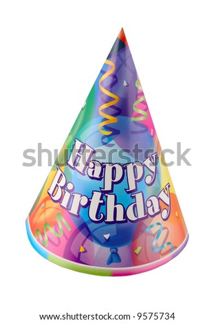 Party hat with Happy Birthday isolated on white - stock photo