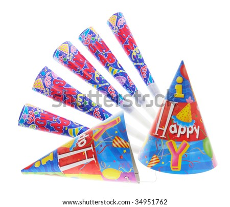 Party Hats and Trumpets on White Background - stock photo
