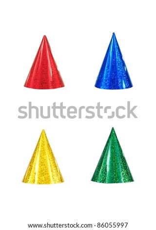 Party hats isolated against a white background - stock photo