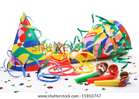 Party hats, paper streamer and  whistles isolated on white background - stock photo