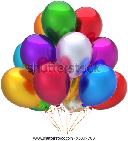 Party helium balloons Happy Birthday decoration multicolor. Holiday graduation anniversary jubilee celebration greeting card concept. Positive abstract. Detailed 3d render isolated on white background - stock photo
