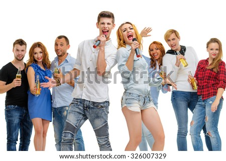 Party, holiday, relax and celebration. Group of  happy smiling friends having fun together, singing karaoke. Isolated on white. - stock photo