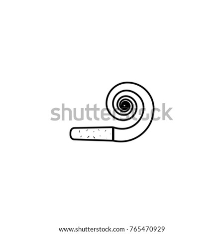 Party Horn Blowout Line Icon On White Background