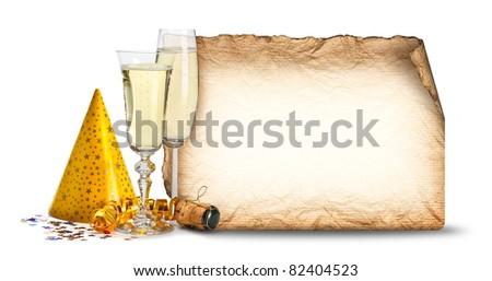 Party invitation - glasses of champagne - stock photo