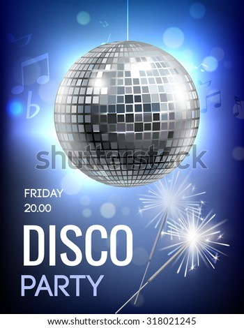 Party invitation poster with disco ball in spot lights  illustration - stock photo