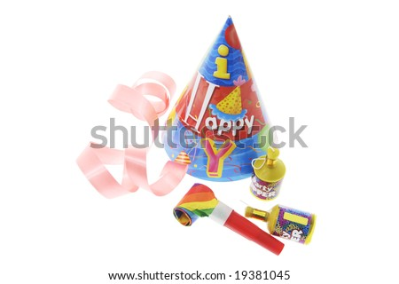 Party Items and Curling Ribbon on White Background