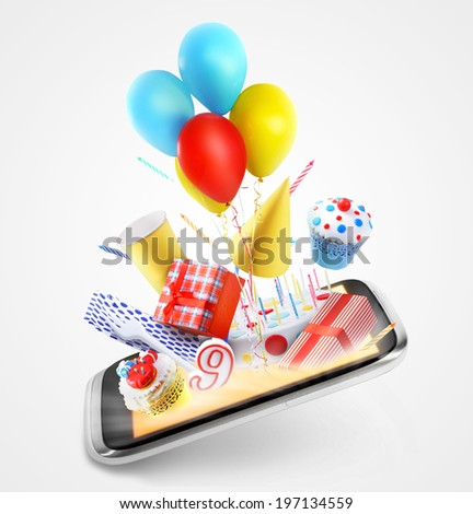 Party items flying out of the screen - stock photo