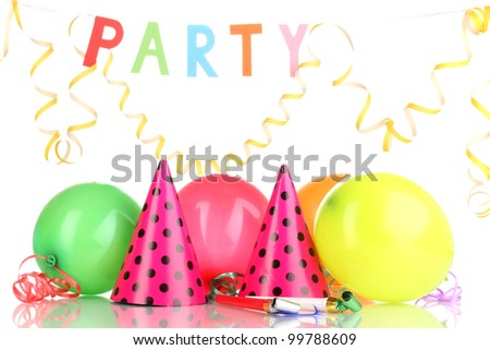 Party items isolated on white