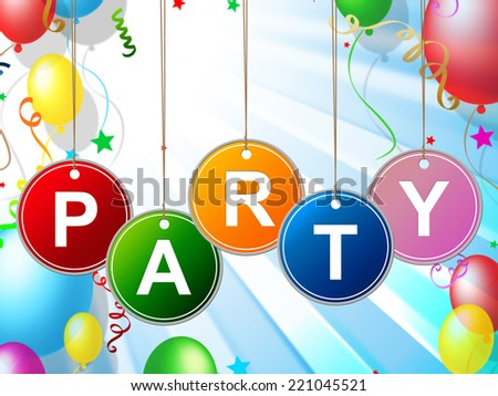 Party Kids Indicating Celebrations Fun And Youngster - stock photo