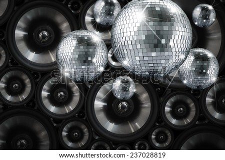 Party lights disco mirror ball with background  - stock photo