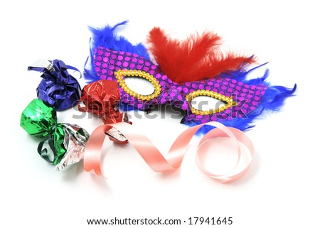 Party Mask and Chocolate Lollies on White Background