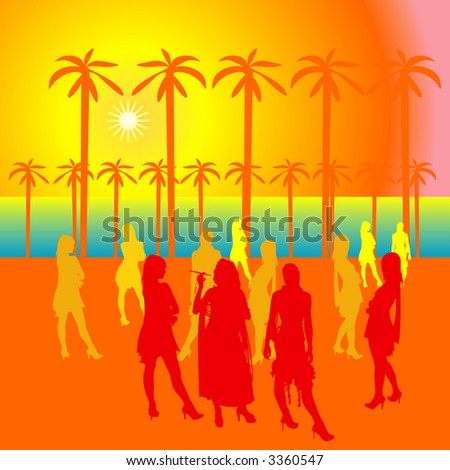 Party people at the open area with silhouettes. The sun and palm trees - stock photo
