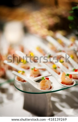party reception canape on spoon