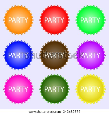 Party sign icon. Birthday air balloon with rope or ribbon symbol. A set of nine different colored labels. illustration