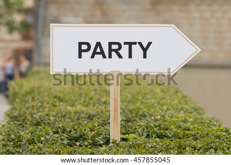 party signpost - stock photo