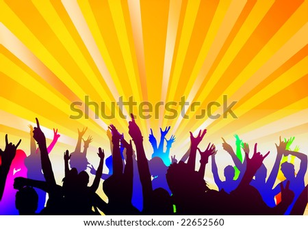 Party silhouette - stock photo