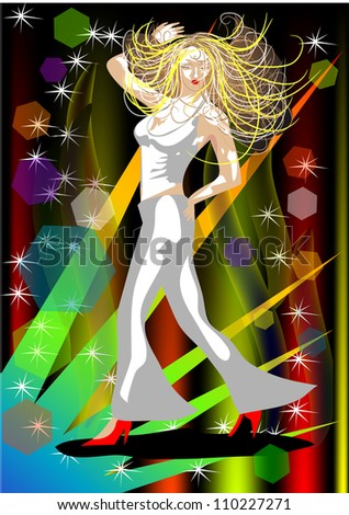 party. silhouette of a dancing woman on a background of colored rays - stock photo