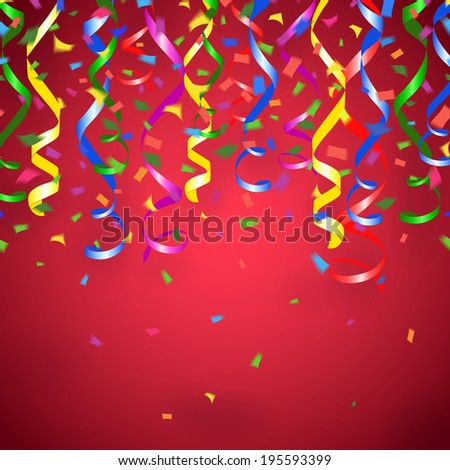 party streamers and confetti red background