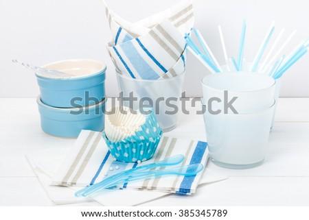 Party Supply. Paper And Plastic Kids Birthday Dinnerware Set. - stock photo
