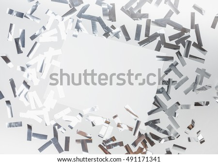 Party time banner ad. Silver confetti mockup template. View from above