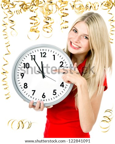 party time. five to twelve. young beautiful woman with big clock and party decoration - stock photo