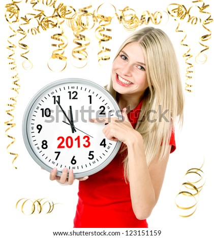 party time new year 2013. five to twelve. young beautiful woman with big clock and party decoration - stock photo
