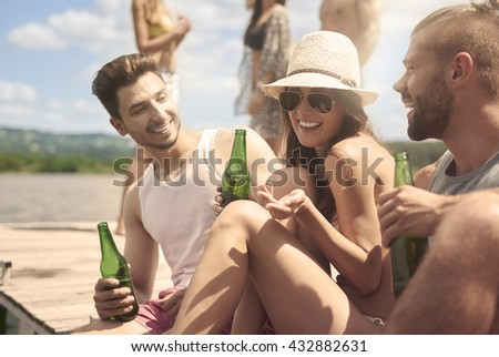 Party time on the lake  - stock photo