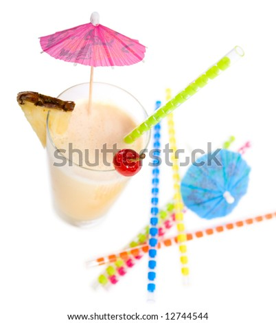 Party time. Pina Colada Cocktail isolated on white. Ingredients: 1 slice pineapple, 5-6 ice cubes, 1 measure white rum, 3 measures pineapple juice, 8 spoons coconut milk - stock photo