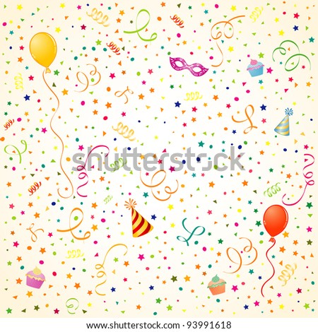 Party Time theme with Balloon, streamer, cake and hat, element for design, raster version - stock photo