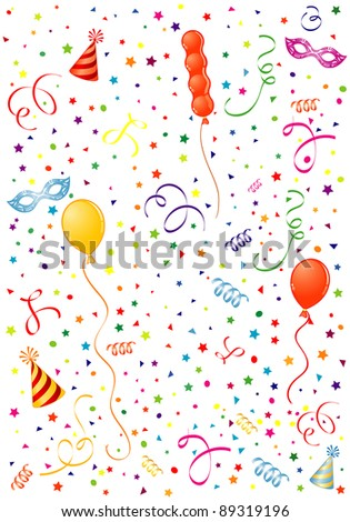 Party Time theme with Balloon, streamer, carnival mask and hat, element for design, raster version - stock photo