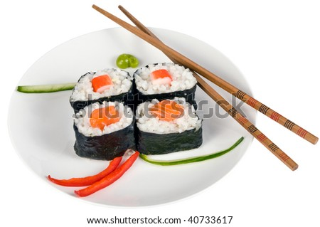 Party tray of sushi and rolls with chopsticks