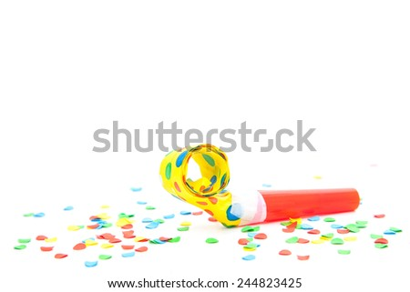 Party utensils on white background. - stock photo