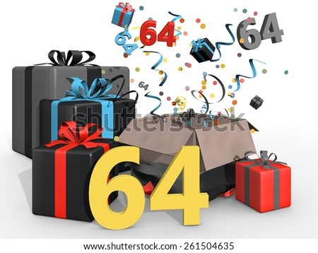 Party with presents and confetti for number 64