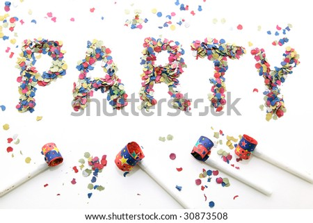 party word with confetti and blowers on white background - stock photo