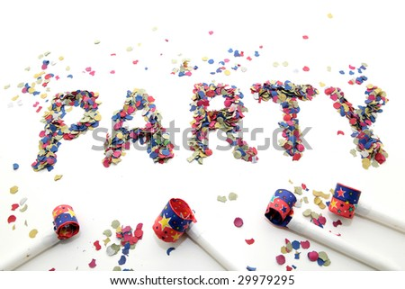 party word with confetti and four  blowers on white background - stock photo