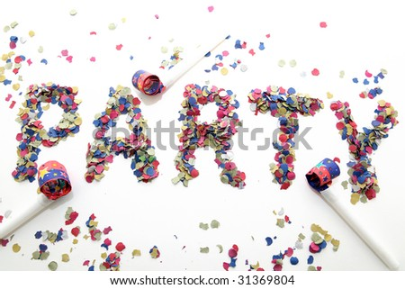 party word with confetti and three blowers on white background - stock photo